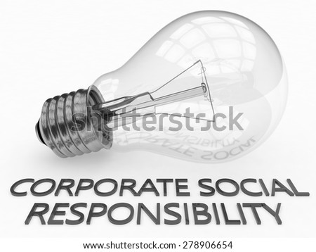 Corporate Social Responsibility - lightbulb on white background with text under it. 3d render illustration. - stock photo