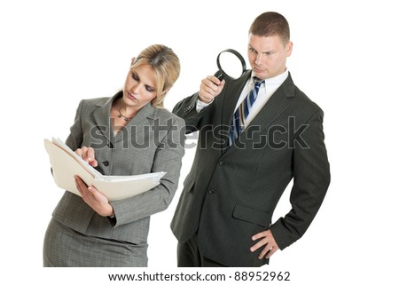 Corporate spying isolated on a white background - stock photo