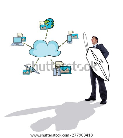Corporate warrior against cloud computing doodle - stock photo