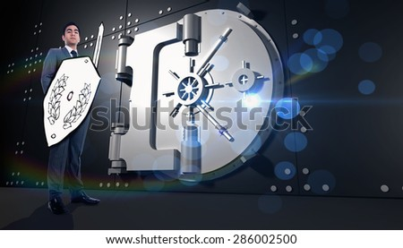 Corporate warrior against digitally generated locked safe