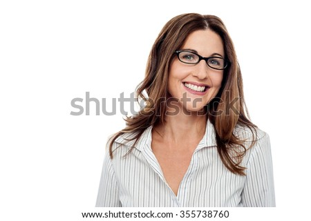 Corporate woman posing to the camera - stock photo