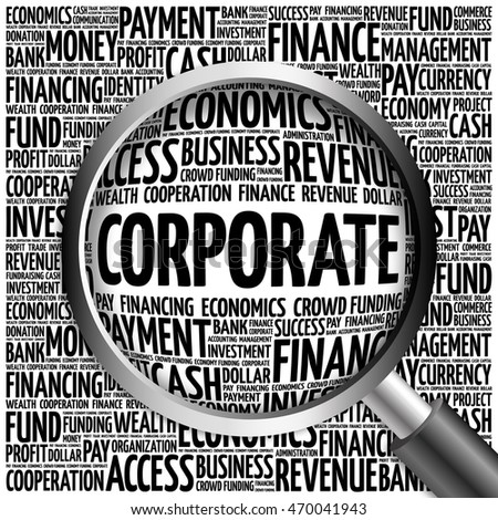 CORPORATE word cloud with magnifying glass, business concept 3D illustration