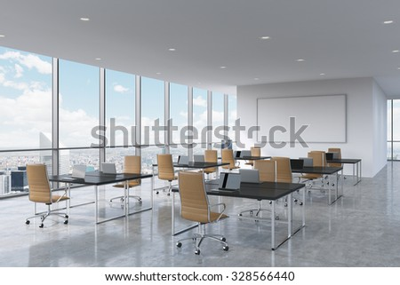 Corporate workplaces equipped by modern laptops in a modern panoramic office in New York City. Brown leather chairs and a black tables, a huge whiteboard on the wall. 3D rendering. - stock photo