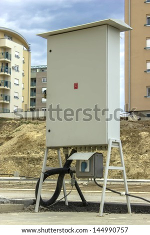 Corporation Electricity Box with Breaker outside at New and modern Apartment Block