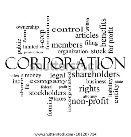 Corporation Word Cloud Concept in black and white with great terms such as shareholders, legal, entity and more.