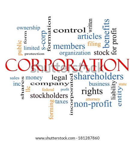 Corporation Word Cloud Concept with great terms such as shareholders, legal, entity and more. - stock photo