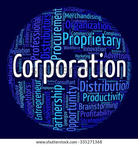 Corporation Word Showing Wordclouds Wordcloud And Corporations - stock photo