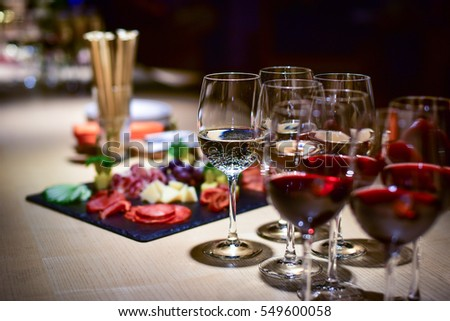 corporative table with glasses wine and delicious