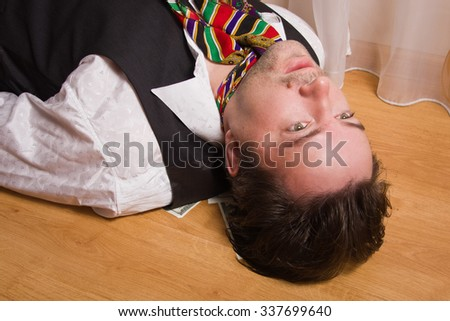 Corpse of killed business in a bedroom