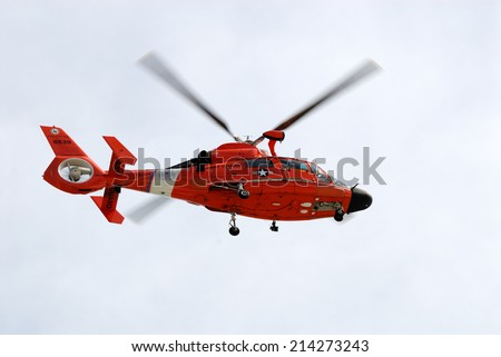 CORPUS CHRISTI, USA - OCT 22: Coast Guard Helicopter over the Padre Island. October  22, 2008 in Corpus Christi, Texas, USA