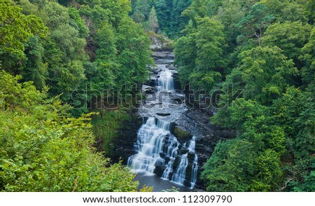 Corra Linn waterfall Clyde Valley - stock photo