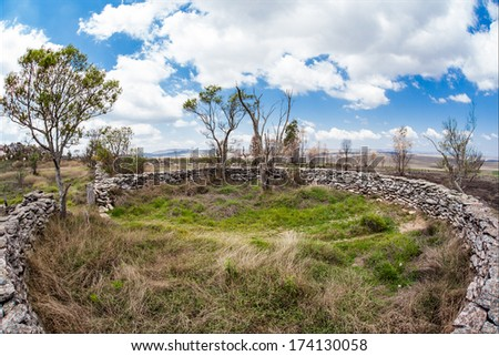 Corral stone at Serra da Canastra National Park - Minas Gerais - Brazil - stock photo