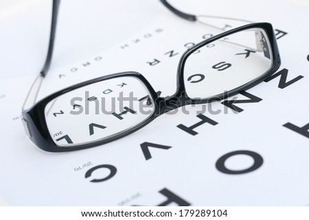 Correction glasses and sight or eye test - stock photo