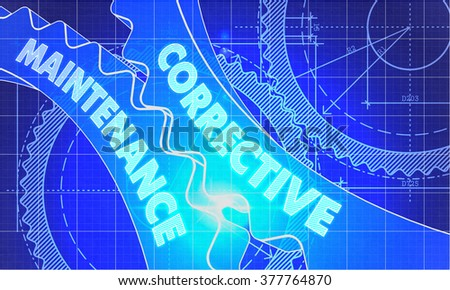 Corrective Maintenance on the Mechanism of Cogwheels. Blueprint Style. Technical Design. 3d illustration with Lens Flare. - stock photo