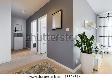 Corridor and living room in modern apartment with gray walls - stock photo