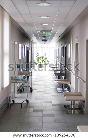 Corridor at hospital - stock photo