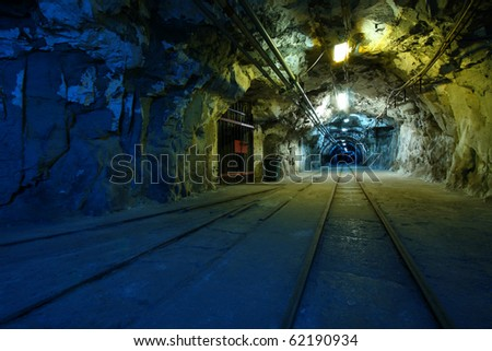 Corridor in a historical mine in Poland - stock photo