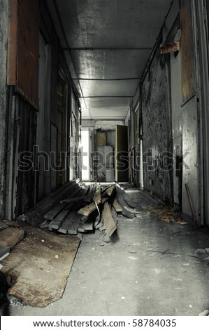 Corridor in Abandoned Building (Selective Color) - stock photo