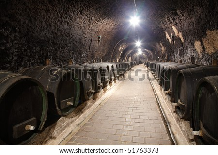 Corridor in winery underground with wine wood - stock photo