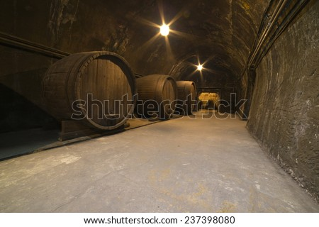 Corridor in winery with old wine cask