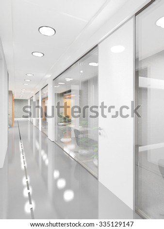 corridor of modern office building 3D visualization