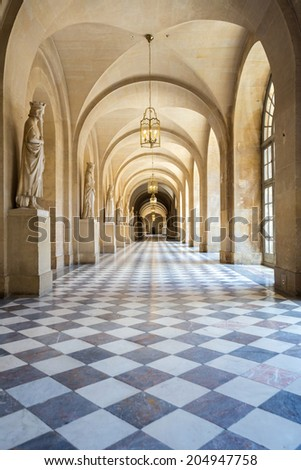 Corridor of Versailles Chateau Palace Paris France - stock photo