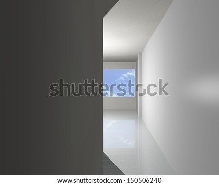 Corridor of white empty interior, 3D rendering - stock photo