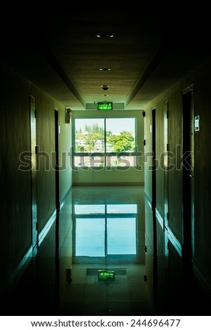 Corridor with light at window, Thailand. unfocused