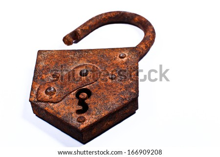corrosion padlock on a white background