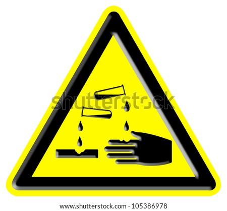 Corrosive Warning Sign - stock photo