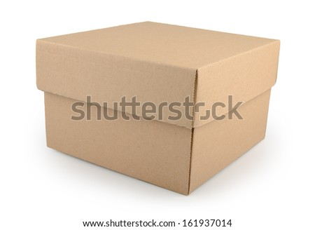 Corrugated brown paper box isolated on white