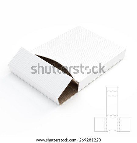 Corrugated Cardboard Box Box with Die Cut Template Render - stock photo