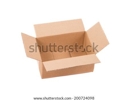 Corrugated cardboard box. Isolated on a white background.