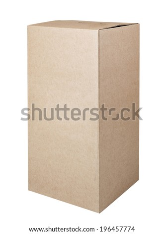 Corrugated cardboard box isolated on white background with clipping path - stock photo