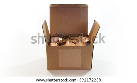Corrugated cardboard box open with American one cent coins inside on white background - Front view