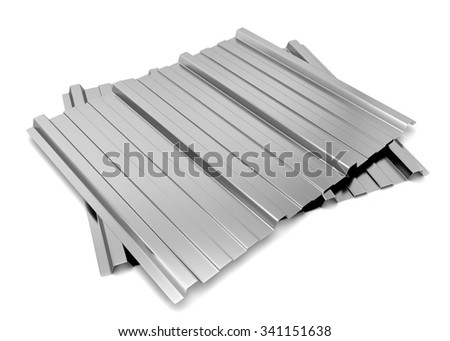 Corrugated metal sheet. 3d illustration isolated on white background  - stock photo