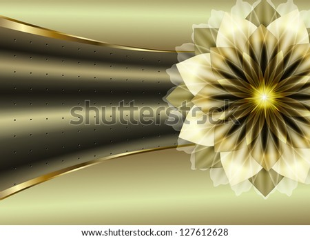 Corrugated metal texture with a luxurious flower. Raster copy of vector image - stock photo