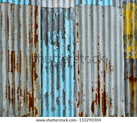 Corrugated metal wall - stock photo