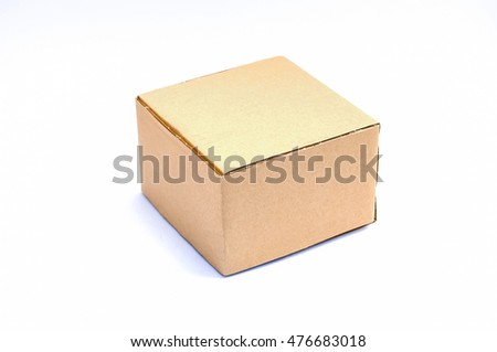 Corrugated paper box on white background.