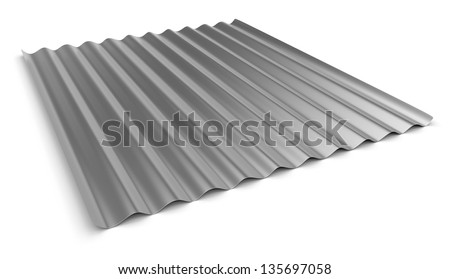 Corrugated sheet of metal - stock photo