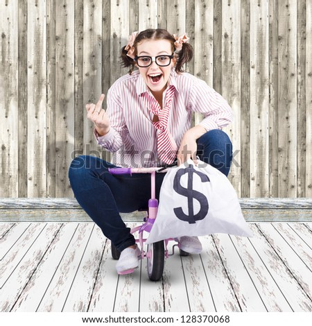 Corrupt Business Thief Giving An Offensive Finger Gesture While Riding Off With Money Bags During A Smart Stealing Scam - stock photo