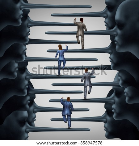 Corrupt system concept and dishonest organization idea as a group of business people climbing a ladder shaped with fraudulent leadership with long liar noses as a metaphor for corporate corruption. - stock photo