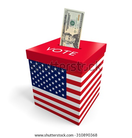 Corruption and big money lobbying in American election politics - stock photo