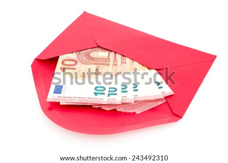 Corruption concept. Red envelope with money, isolated on white background. - stock photo