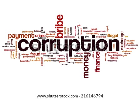 Corruption concept word cloud background - stock photo