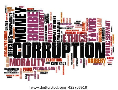 Corruption crime issues and concepts tag cloud illustration. Word cloud collage concept. - stock photo