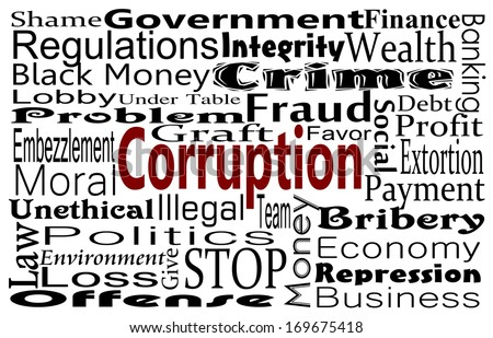 Corruption in government and industry concept with word cloud - stock photo