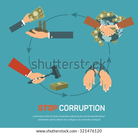 Corruption infographic banner set with corrupt business and politics flat elements isolated illustration - stock photo