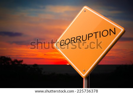 Corruption - Inscription on  Warning Road Sign on Sunset Sky Background. - stock photo