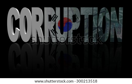 Corruption text with South Korea flag and currency illustration - stock photo